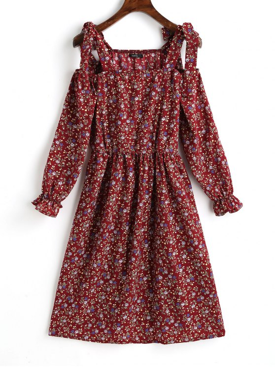 fancy Tiny Floral Cold Shoulder Mini Dress - DARK RED XL