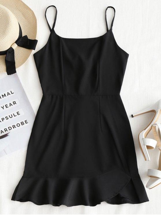 fashion Back Zip Ruffle Slip Mini Dress - BLACK M
