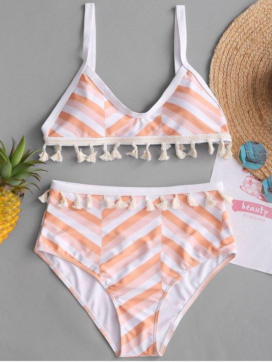 latest Zigzag Tassel High Waisted Bikini Set - COLORMIX S