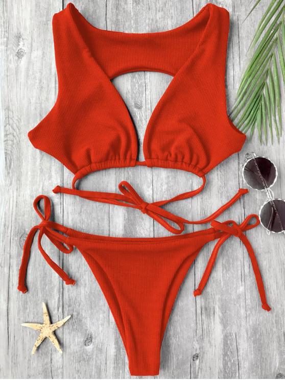 Costume Da Bagno A Trama Di Ritaglio - Rosso S
