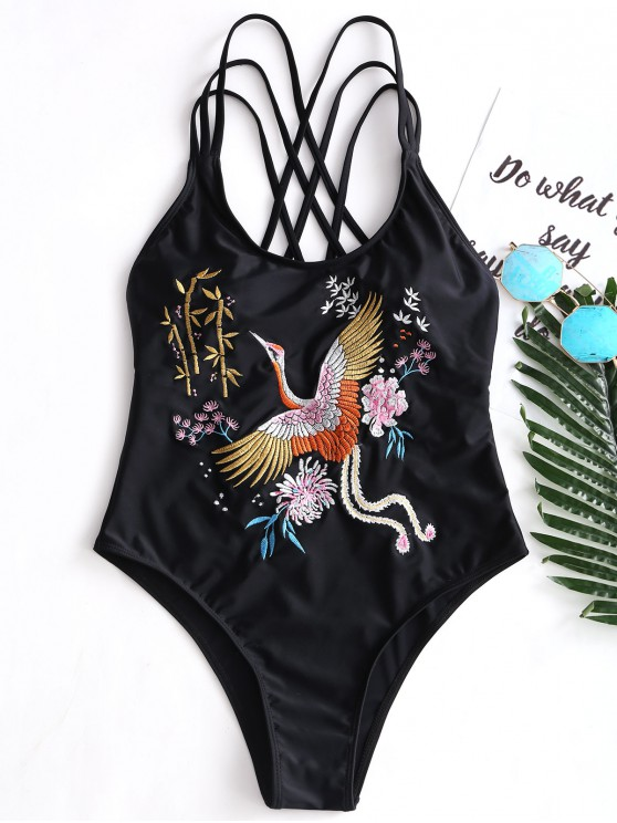 new Embroidered Strappy One Piece Swimsuit - BLACK L