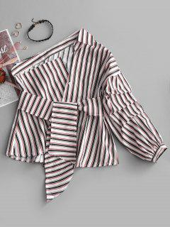 One Shoulder Striped Asymmetric Belted Blouse - Stripe L