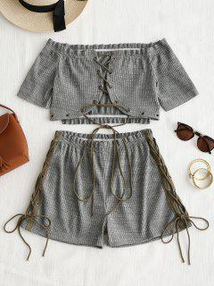 Lace Up Off Shoulder Top And Shorts Set - Deep Gray M