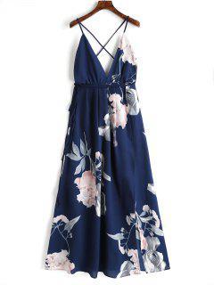 Robe Longue Florale à Décolleté Plogeant à Dos Nu Croisé - Bleu Foncé M
