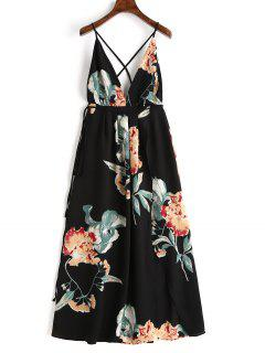 Floral Criss Cross Back Slit Maxi Dress - Black M