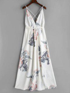 Floral Criss Cross Back Slit Maxi Dress - White L