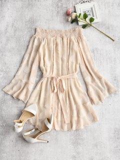 Textured Belted Off Shoulder Mini Dress - Apricot M