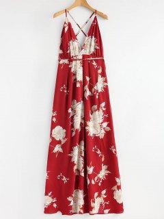 Robe Longue Entrecroisée Florale à Fente - Rouge S