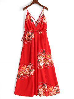 Criss Cross Back Floral Maxi Dress - Red M