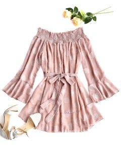 Textured Belted Off Shoulder Mini Dress - Pink S