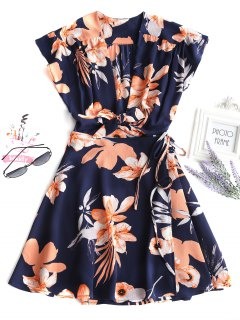 Floral Tied Wrap Mini Dress - Deep Blue M