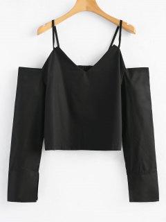 Loose Cold Shoulder Top - Black L