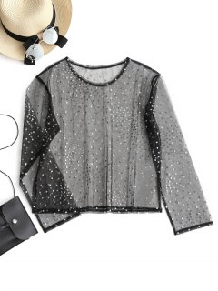 Mesh Shiny Polka Dot Top - Black L