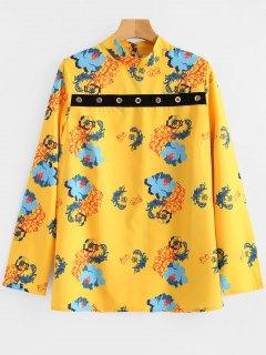 Anillos Metálicos Ojo De La Cerradura Blusa Floral - Amarillo L