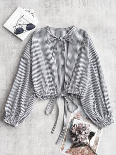 Tie Stripes Cut Out Blouse - Stripe S