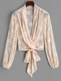 Tied Textured See Through Blouse - Pinkbeige S