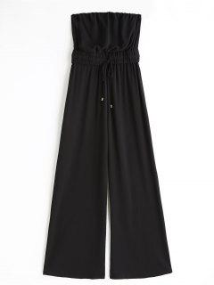 Drawstring Strapless Wide Leg Jumpsuit - Black S