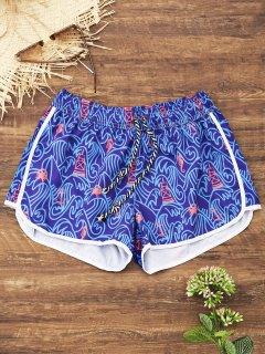 Drawstring Printed Swim Shorts - Blue Violet L