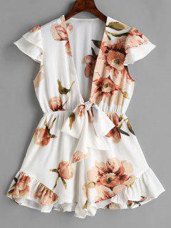 Floral Tie Ruffle Romper - White M