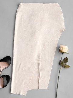 Faux Suede Asymmetrical Skirt - Light Apricot L