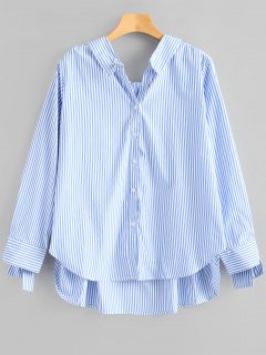 Tied Sleeve High Low Stripes Shirt - Blue S