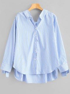 Chemise Boutonnée Haute-Bas à Rayures - Bleu L
