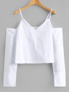Loose Cold Shoulder Top - White M