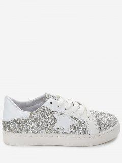 Star Patch Sequined Sneakers - Silver 37