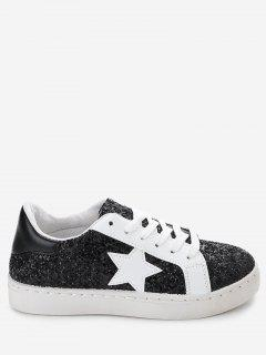 Star Patch Sequined Sneakers - Black 39