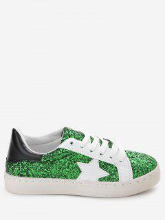 Star Patch Sequined Sneakers - Green 38