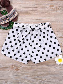 Polka Dot Tie Belt Shorts - White And Black Xl