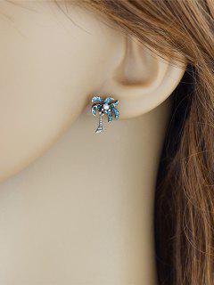 Pendientes De Perlas De árbol De Coco De Diamantes De Imitación De Perla De Metal - Verde