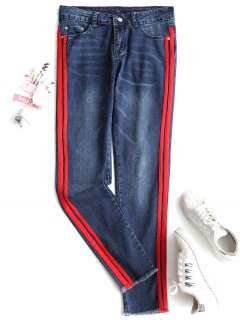 Ribbons Trim Frayed Skinny Jeans - Denim Blue L