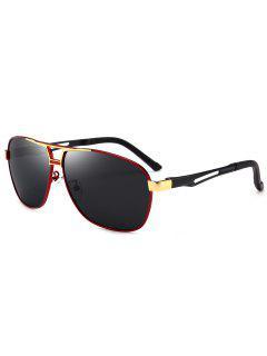 Gafas De Sol Piloto De Metal Cuadrado - Rojo