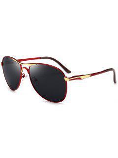Gafas De Sol Piloto De Metal De Marco Completo - Rojo