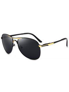 Full Frame Metal Pilot Sunglasses - Golden