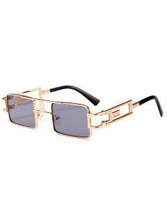Hollow Out Carver Frame Square Sunglasses - Light Gray