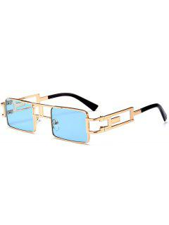 Hollow Out Carver Frame Square Sunglasses - Blue
