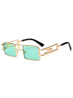 Hollow Out Carver Frame Square Sunglasses - Green