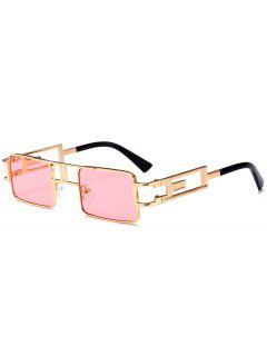 Hollow Out Carver Frame Square Sunglasses - Light Pink
