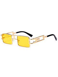 Hollow Out Carver Frame Square Sunglasses - Yellow