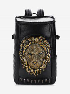 Lion Head Faux Leather Backpack - Golden