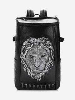 Lion Head Faux Leather Backpack - Silver