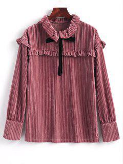 Ruffle Long Sleeve Velvet Blouse - Pinkish Brown L