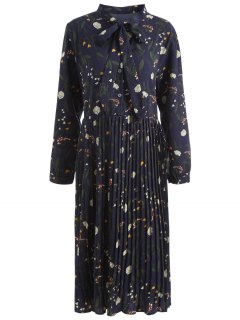 Plus Size Bowtie Neck Floral Pleated Dress - Deep Blue 4xl