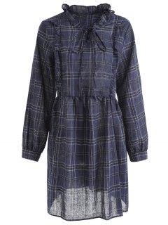 Plaid Ruffles Plus Size Dress - Blue 2xl