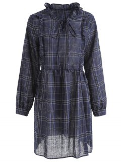Plaid Ruffles Plus Size Dress - Blue 3xl