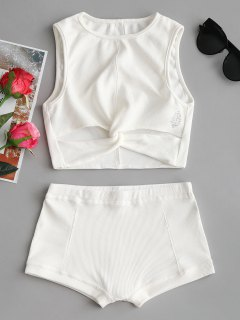 Printed Twist Top And Shorts Set - White M