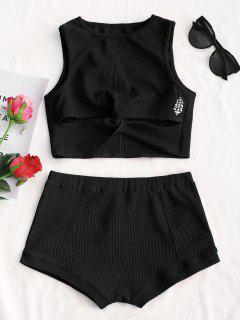 Printed Twist Top And Shorts Set - Black M