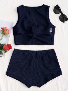 Printed Twist Top And Shorts Set - Purplish Blue M